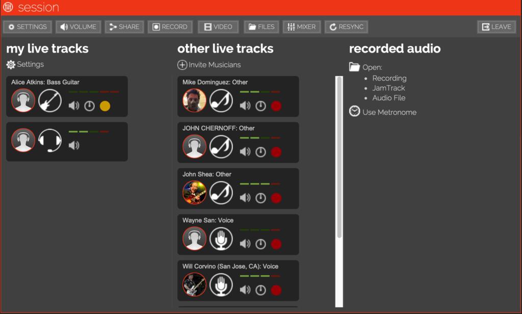L'interface Jamkazam pour répéter à distance